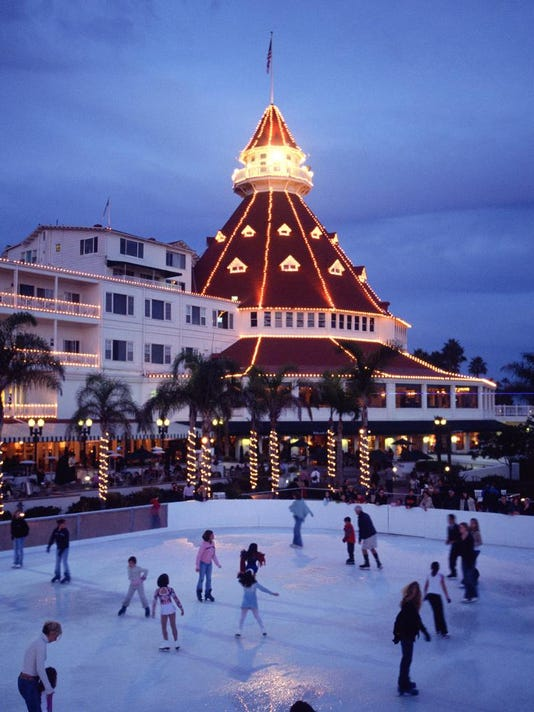 11.22Gaze upon the Del Coronado's light display from the resort's ice skatin