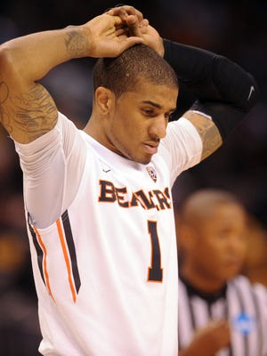 Mar 18, 2016; Oklahoma City, OK, USA; Oregon State Beavers Gary Payton II (1) reacts in the first half against the Virginia Commonwealth Rams during the first round of the 2016 NCAA Tournament at Chesapeake Energy Arena. Mandatory Credit: Mark D. Smith-USA TODAY Sports