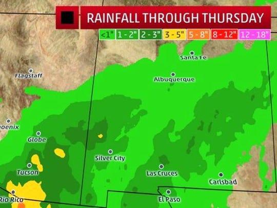 Rainfall through Thursday