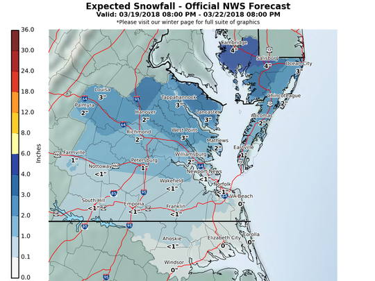Delmarva could see 2-6 inches of snow from Tuesday