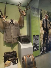 This is the display case featuring legendary outdoorsman Grits Gresham of Natchitoches on the second floor of the Louisiana Sports Hall of Fame museum.