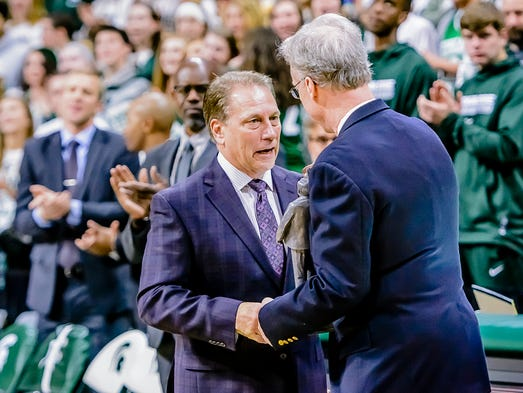 MSU Men's Basketball Head Coach Tom Izzo ,left, is
