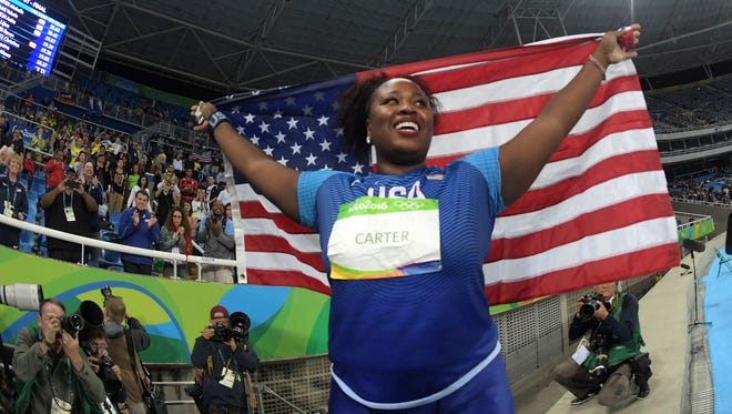 Michelle Carter (USA) celebrates her victory in the shot put.