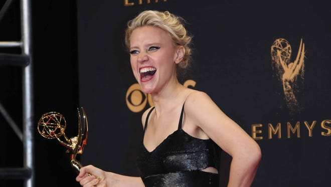 'Saturday Night Live's' Kate McKinnon celebrates with the Emmy she won Sunday.
