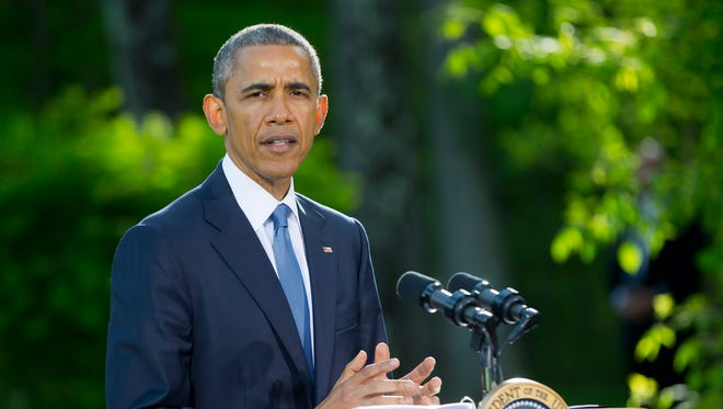 In a Thursday, May 14, 2015, photo, President Barack Obama speaks during a news conference after meeting with Gulf Cooperation Council leaders and delegations at Camp David in Maryland.