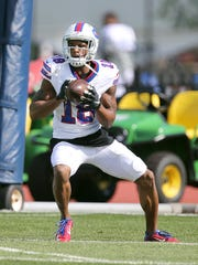 Percy Harvin fields a kickoff during training camp.