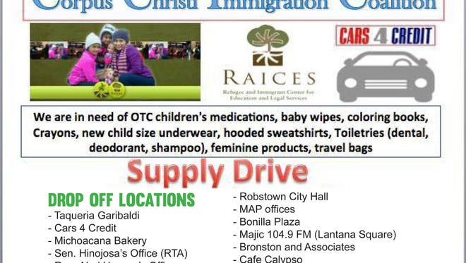 A local coalition of activists, students, educators and attorneys and other Corpus Christi residents are gathering supplies for women and children being released from detention centers in Karnes City and Dilley. The Corpus Christi Immigration Coalition arranged for supplies to be dropped off at 12 locations through Tuesday.