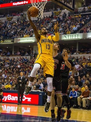 Pacers forward Paul George scored 33 points in a 104-92 win over the Chicago Bulls at Bankers Life Fieldhouse.