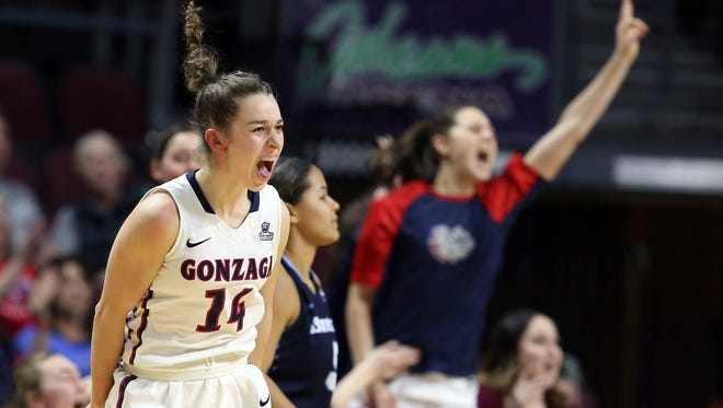 Gonzaga's Emma Stach celebrates after making a 3-pointer shot during the Zags' win over San Diego in the West Coast Conference tournament on March 5. The 13th-seeded Zags will open NCAA Tournament play against No. 4 Stanford.