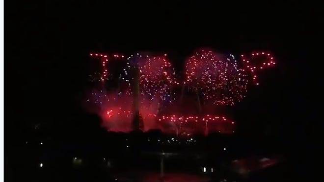 """Fireworks spell out """"TRUMP"""" in the D.C. sky Thursday after President Donald Trump delivered his speech accepting the nomination by the Republican Party for a second term as president."""