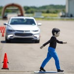 Front Pedestrian Braking, a new active safety technology available on the 2016 Chevrolet Malibu and 2016 Cadillac CT6, is one of many safety features tested at GM' new Active Safety Test Area at the Milford Proving Ground in Milford.