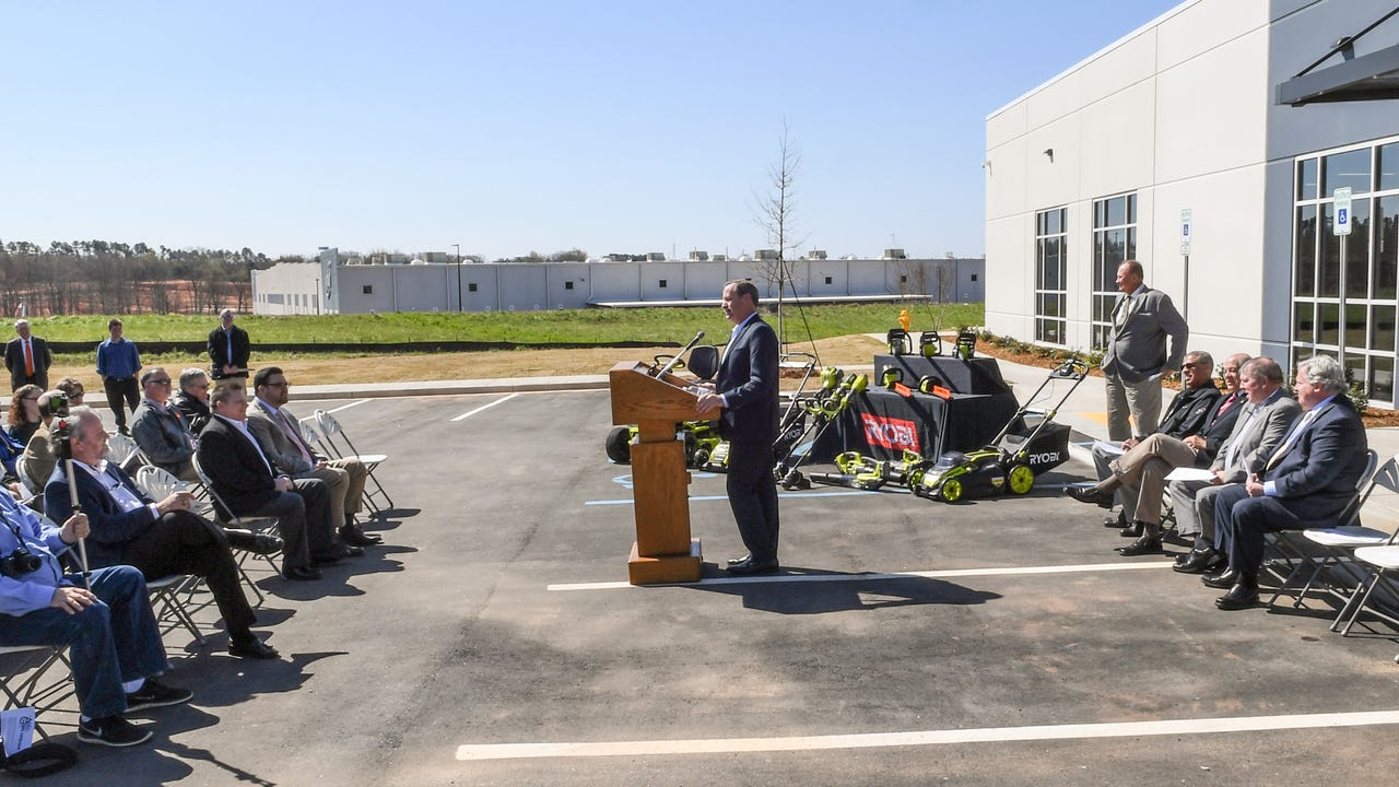Lee Sowell, President of Techtronic Industries Power Equipment (TTi) speaks during the opening of its new Outdoor Product Test Center in Anderson on Friday. The site is a lab to test TTi's lawn and garden products.