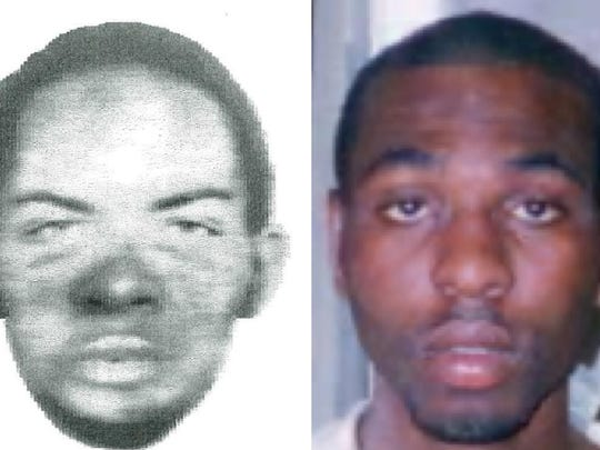 A police sketch and mugshot of Nosakhare Onumonu.