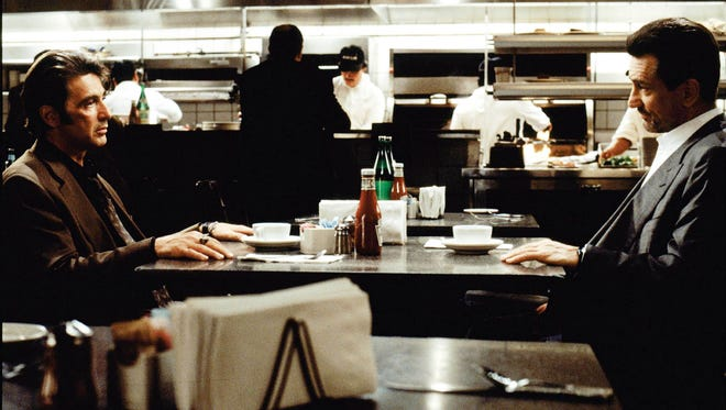 Al Pacino as Vincent Hanna, left, and Robert De Niro as Neil McCauley in the famed diner scene from 'Heat.'