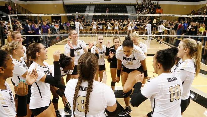 Sherridan Atkinson of Purdue dances after the Boilermakers swept Northwestern 25-18, 25-20, 25-18 Wednesday, September 20, 2017, at Holloway Gymnasium on the campus of Purdue University.