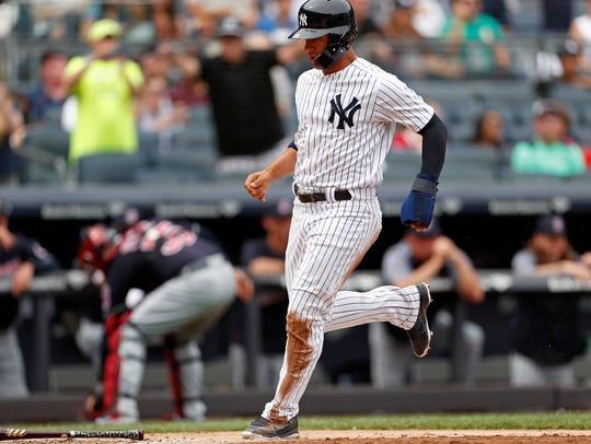 New York Yankees second baseman Gleyber Torres scores