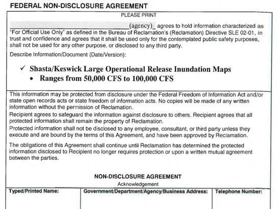 This image shows a portion of the non-disclosure form