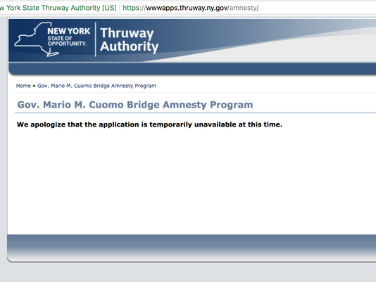 Cashless toll fee amnesty website down