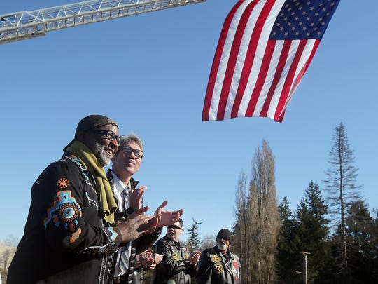 Army veteran Michael Greer, of Illahee, during a ground-breaking ceremony for a new Veterans Affairs clinic in Silverdale on Monday.