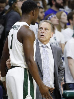 MSU coach Tom Izzo gets after freshman Joshua Langford from time to time, but his approach with Langford is usually more tame than with some other notable players.