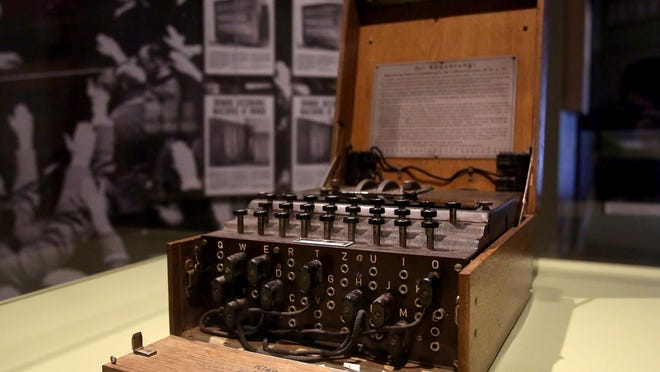 The Enigma Machine was used by Germans to encipher and decipher secret communications. It is one of the highlights of the World War II exhibit at The Oregon Historical Society.