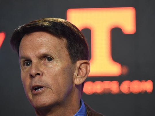 Athletic director Dave Hart answers questions during a press conference at University of Tennessee's Ray & Lucy Hand Digital Studio in Knoxville on Thursday, Feb. 25, 2016. (ADAM LAU/NEWS SENTINEL)