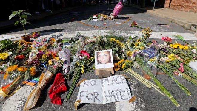 Memorial for Heather Heyer in Charlottesville, Va., on, Aug. 13, 2017.