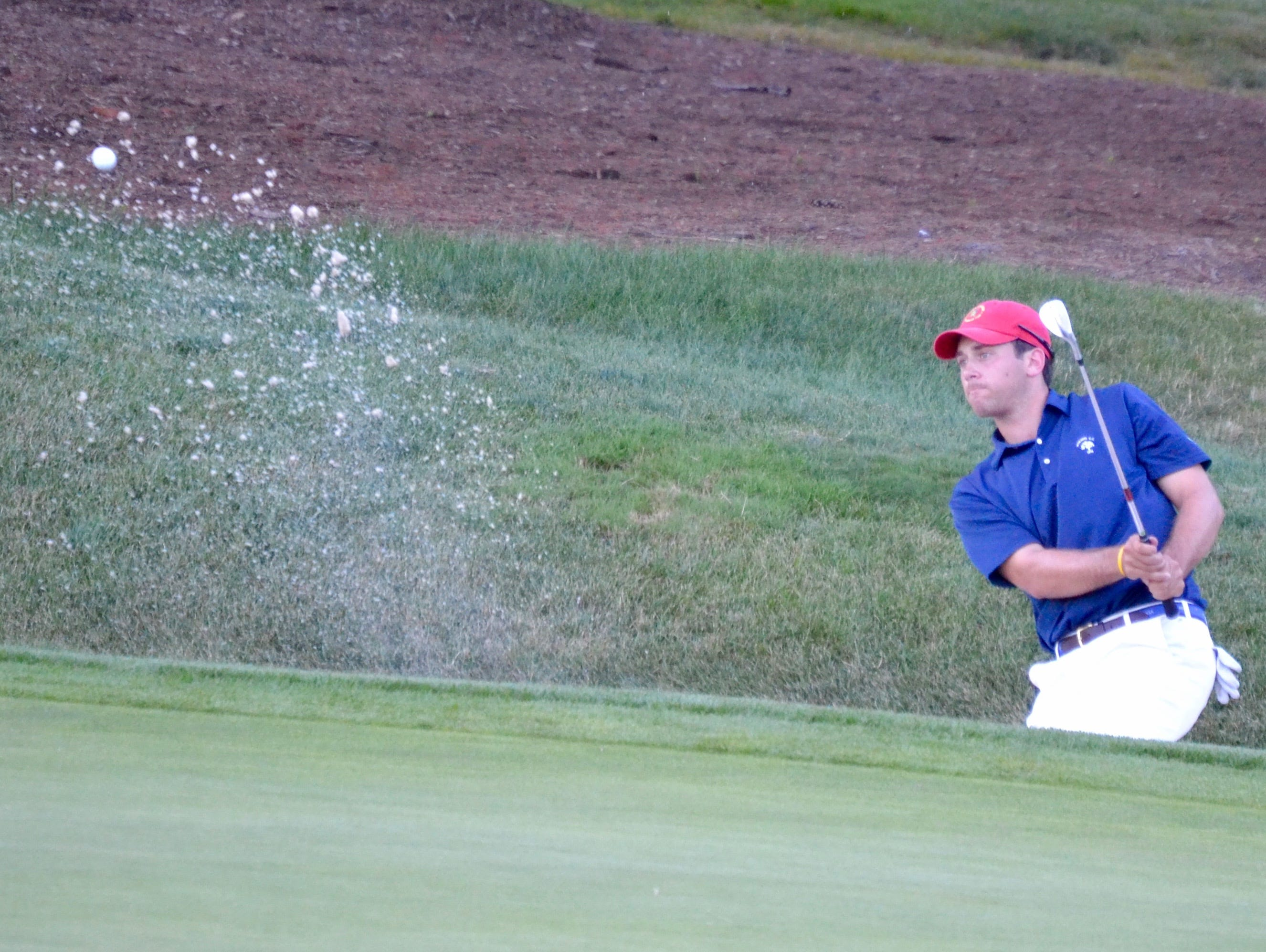 Century CC member Sam Bernstein escapes a greenside bunker during a quarterfinal match at the 113th Met Amateur. He missed the 10-footer to extend the match and fell to Ryan Snouffer.