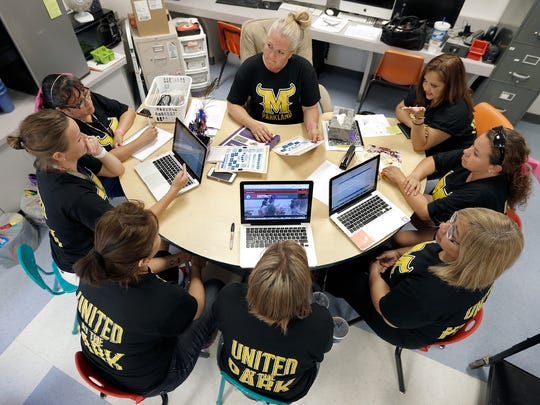 Desertaire Elementary School kindergarten teachers plan for the return of students.