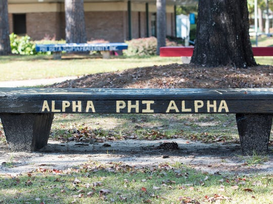 Fraternity and sorority benches line walks ways at the University of West Florida on Monday, November 13, 2017.