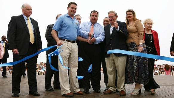 A year and a day ago, Gov. Chris Christie opened the summer at the Belmar boardwalk. Today he does it again. (Governor's Office photo by Tim Larsen)