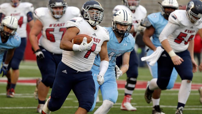 Brookfield East's Sam Santiago-lloyd scores the last of his record five touchdowns  during the East's 42-36 win over Monona Grove to win the WIAA Division 2 state football championship.