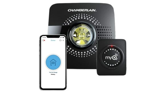The Chamberlain MyQ Smart Garage Door Opener can be controlled from anywhere using a mobile device.