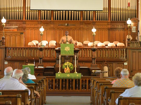 Pastor Mario Madden, of Tulpehocken Trinity United Church of Christ, at the pulpit during the Sunday service on Sept. 4, 2016.