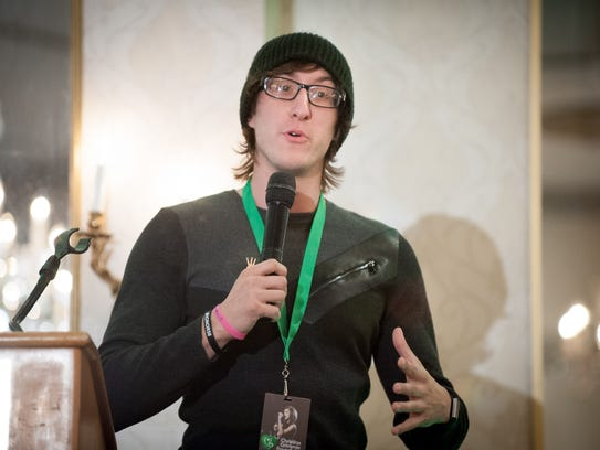 Marcus Grimmie, Christina Grimmie's brother, speaks during the East Coast kickoff event for the Christina Grimmie Foundation at The Mansion on Main Street in Voorhees on Saturday.