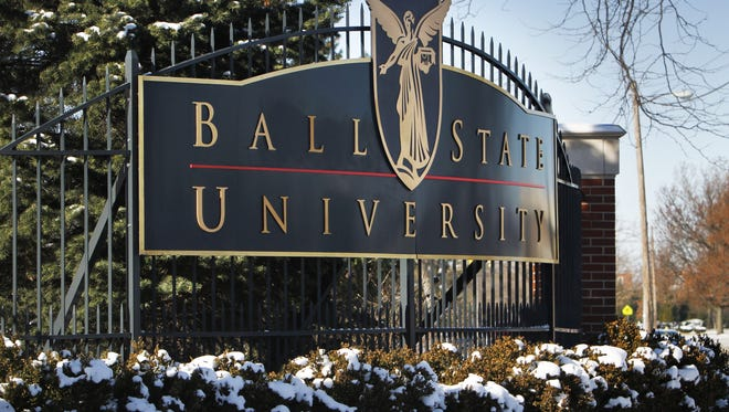 This is the main north entrance to Ball State University in Muncie, Ind.