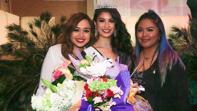 Keane Artero #3 wins Miss Air  during the Miss Earth Guam 2016 pageant. she is pictured friends Danielle Apilado and Geri Bautista . The pageant was held at he Sheraton Hotel Guam resort.