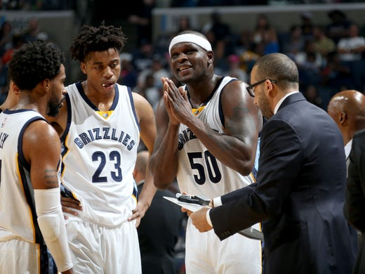 Memphis Grizzlies Mike Conley, Deyonta Davis, and Zach