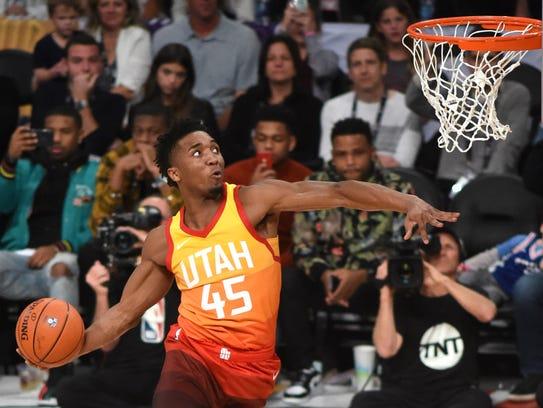 Utah Jazz guard Donovan Mitchell (45) during the slam