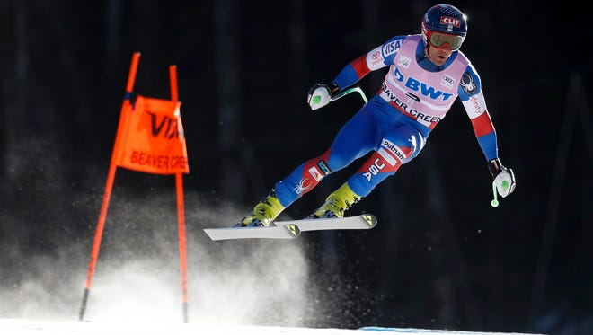Steven Nyman skis during training for the men's downhill in the 2017 FIS alpine skiing World Cup at Beaver Creek in Avon, Colo on Nov. 30, 2017.