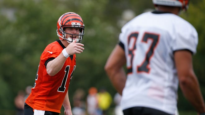 Bengals quarterback Andy Dalton directs tight end C.J. Uzomah at the line of scrimmage during training camp on Saturday.