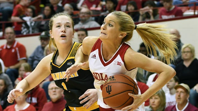 Indiana Hoosiers guard Tyra Buss (3) dribbles along the baseline against Milwaukee at Simon Skjodt Assembly Hall in Bloomington, Ind., on Sunday, March 18, 2018.