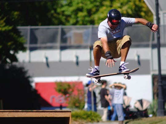 J.D. Murr, with Knoxville Skatepark, hits a ramp during
