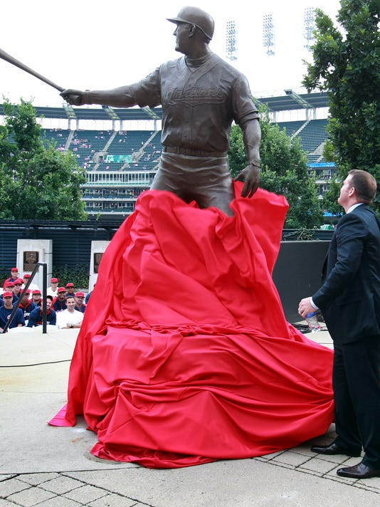 af16b270b26 Former Cleveland Indian Jim Thome unveils a statue dedicated to him inside  Progressive Field prior to