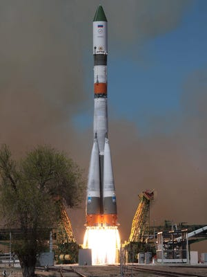 A Russian Soyuz-2.1 carrying an unmanned Progress supply craft for the International Space Station was launched April 28, 2015 in Kazakhstan.