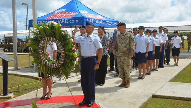 The Guam National Guard honored its fallen members during its annual Fallen Heroes Ceremony on May 26, 2017 at the Fallen Heroes Memorial Monument, in front of the entrance of the Joint Forces Headquarters at the Guard's Readiness Center in Barrigada.