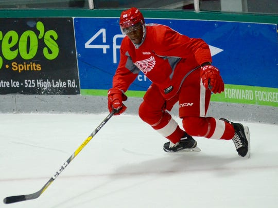 Givani Smith during a scrimmage at the Red Wings' prospect camp on July 8, 2016, in Traverse City.