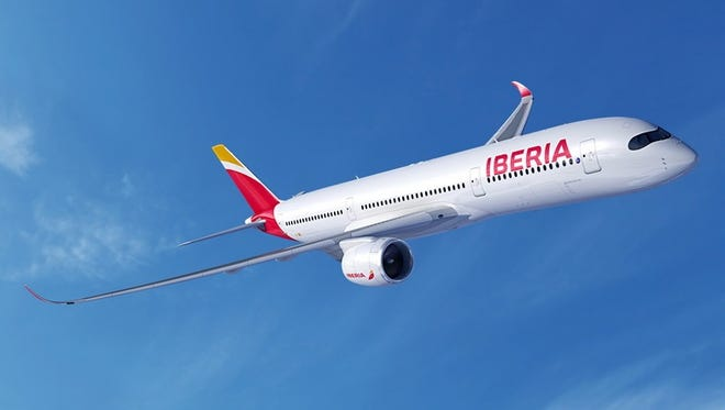 An image of an Airbus A350-900 in the colors of Iberia.