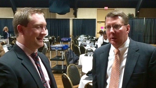 Voice of the Shorebirds Brendan Gulick (left) chats with Orioles director of minor league operations Kent Qualls at the 2016 Hot Stove Banquet.