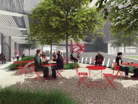 A conceptual rendering of the plaza planned as part of the project at 12th and Demonbreun.